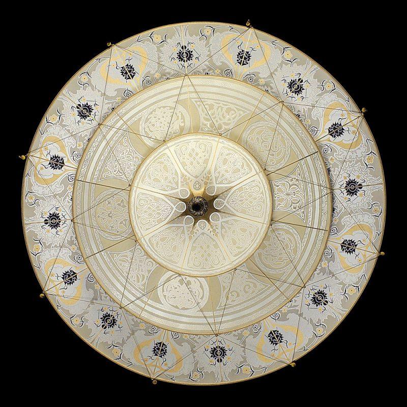 Lampada in seta Fortuny Scheherazade Geomertic 3 dischi lato inferiore