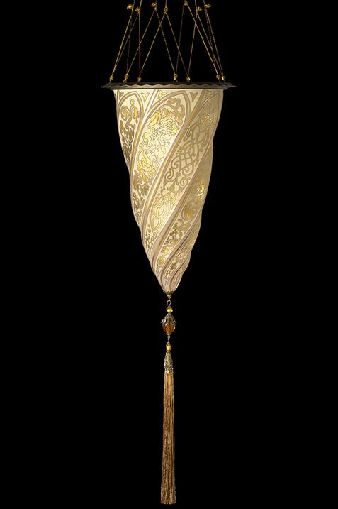 Lampada in vetro Fortuny Cesendello Chandelier singolo paralume in oro