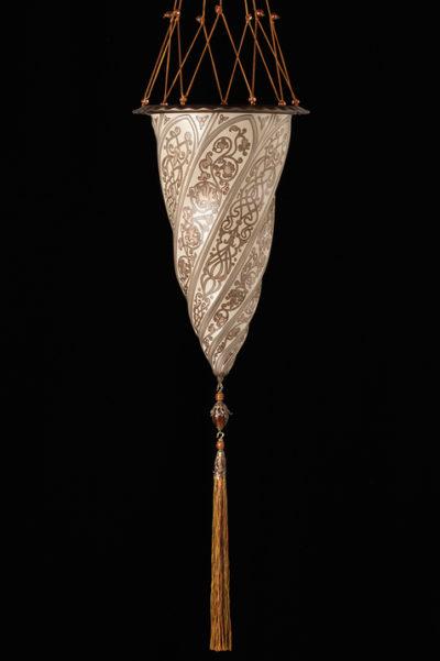 Lampada in vetro Fortuny Cesendello Chandelier singolo paralume in argento