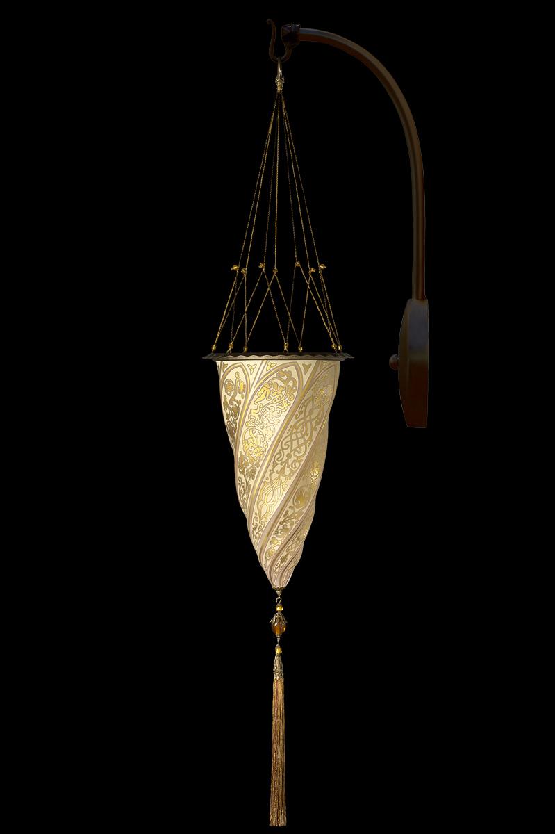 Lampada Fortuny Cesendello in vetro oro ad arco