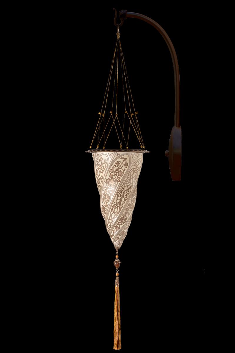 Lampada Fortuny Cesendello in vetro argento ad arco