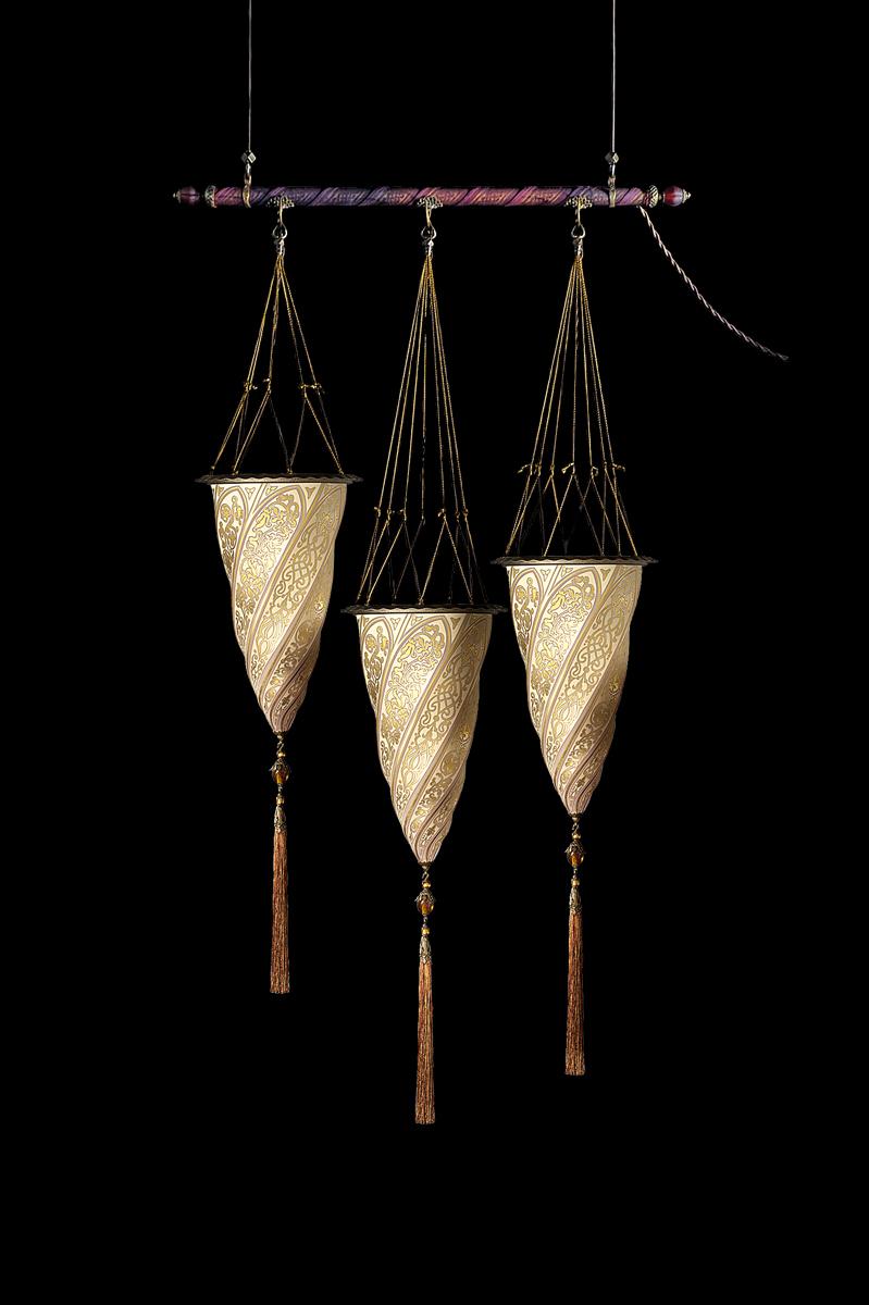 Lampada in vetro Fortuny Cesendello su asta 3 punti luce