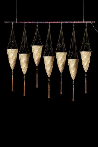 Lampada in vetro Fortuny Cesendello su asta 7 punti luce