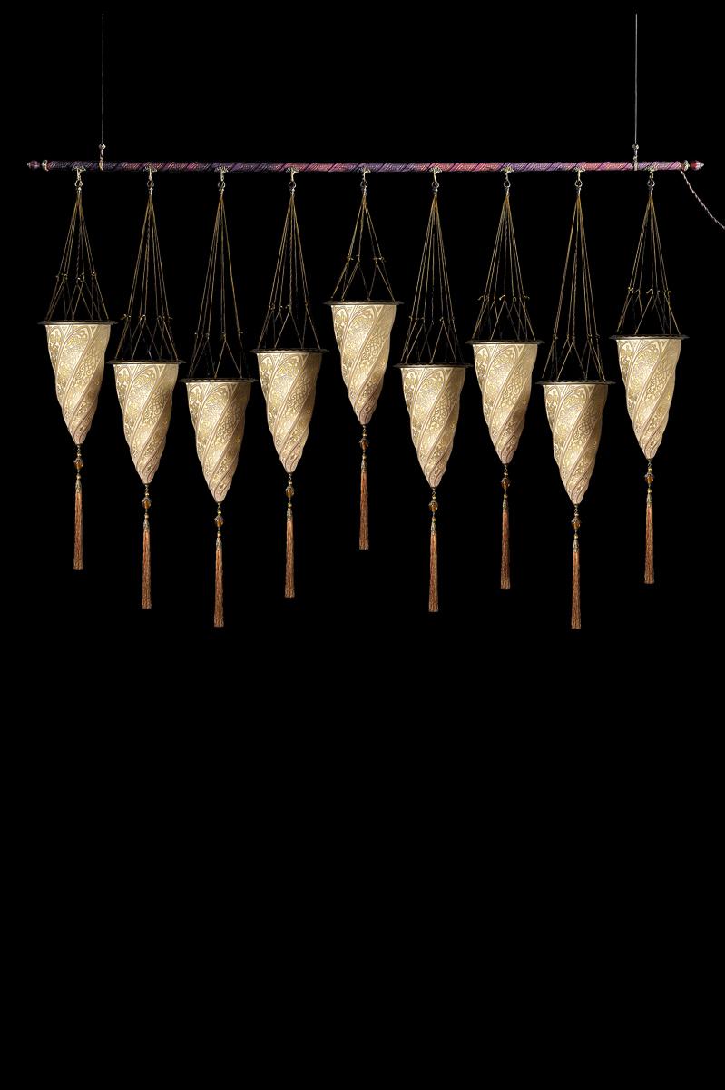 Lampada in vetro Fortuny Cesendello su asta 9 punti luce