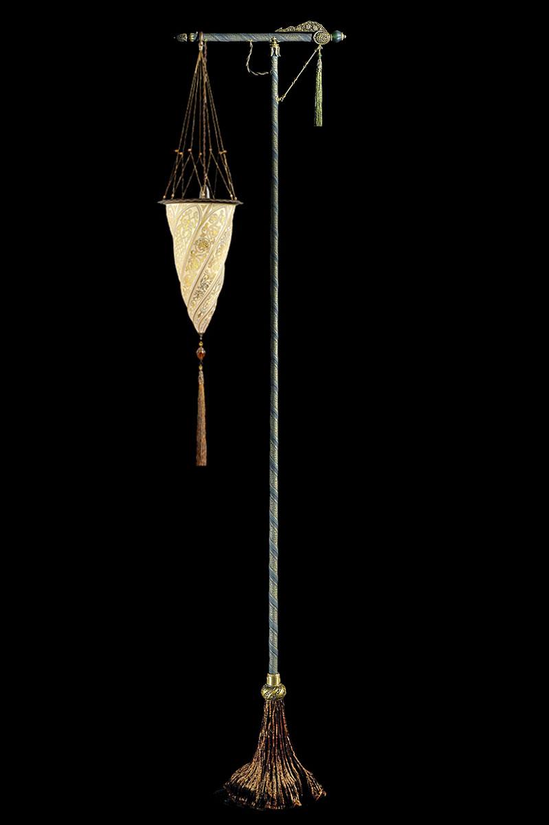 Lampada da terra Fortuny Cesendello in vetro oro con supporto verde