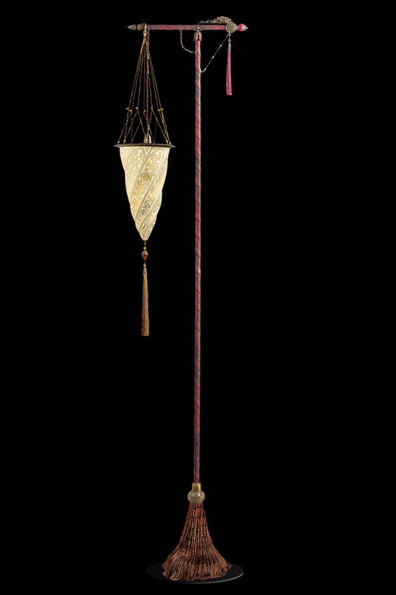 Lampada da terra Fortuny Cesendello in vetro oro con supporto rosso
