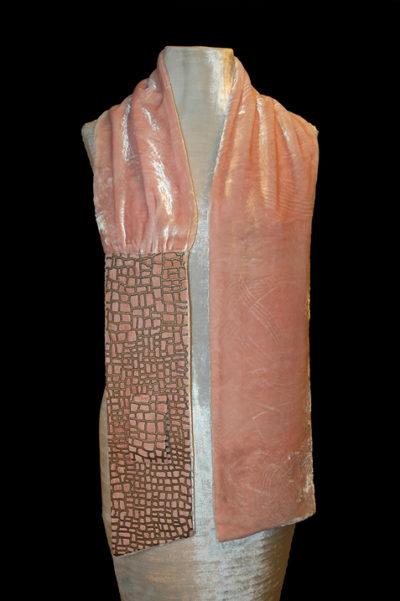 Sciarpa Fortuny in velluto stampato rosa 3