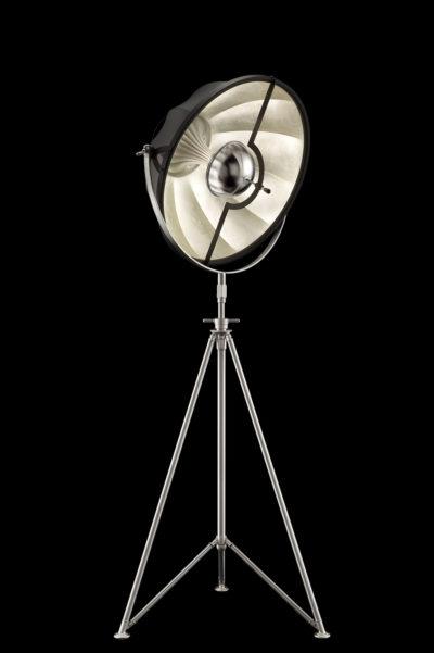 Lampada Fortuny Studio 63 nera e foglia argento con treppiede in acciaio