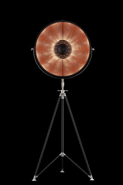 Lampada Fortuny Studio 63 nero e foglia rame con treppiede