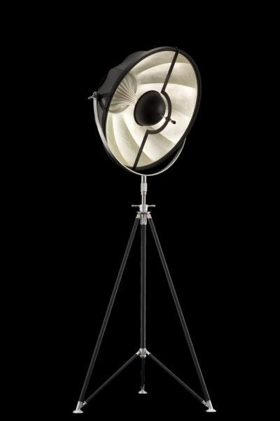 Lampada Fortuny Studio 63 nero e argento con treppiede