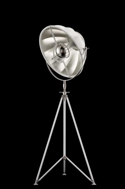 Lampada Fortuny Studio 63 bianca e foglia argento con treppiede