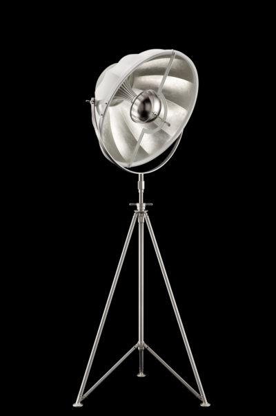 Lampada Fortuny Studio 63 bianca e foglia argento con treppiede in acciaio