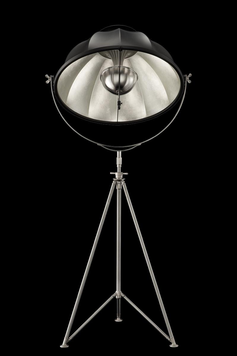 Lampada Fortuny Studio 76 nera e foglia argento con treppiede in acciaio