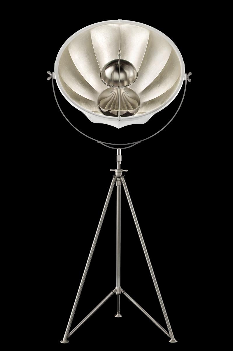 Lampada Fortuny Studio 76 nero e argento con treppiede in acciaio
