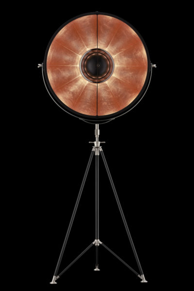 Lampada Fortuny Studio 76 nera e foglia rame con treppiede