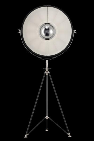 Lampada Fortuny Studio 76 bianca e nera con treppiede