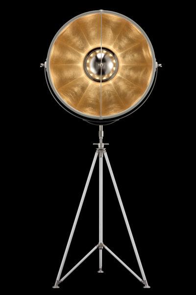 Lampada Fortuny Studio 76 bianca e foglia oro con treppiede