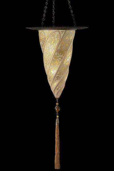 Lampada Fortuny Cesendello in vetro oro con anello metallico