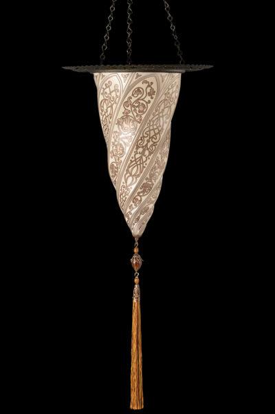 Lampada Fortuny Cesendello in vetro argento con anello metallico