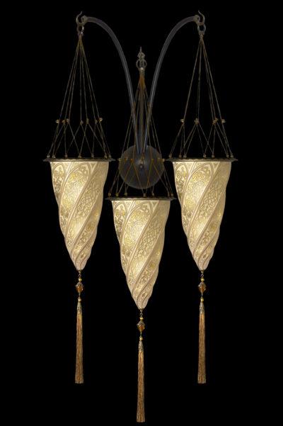 Lampada Fortuny Cesendello in vetro oro a muro ad arco triplo
