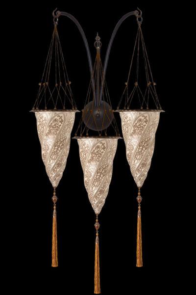 Lampada Fortuny Cesendello in vetro argento a muro ad arco triplo