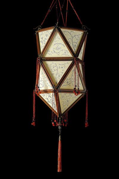 Lampada in seta Fortuny Concubine Favorita con struttura in legno