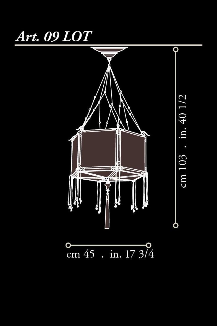 Lampada Fortuny Concubine Loto in seta con struttura in legno dimensioni