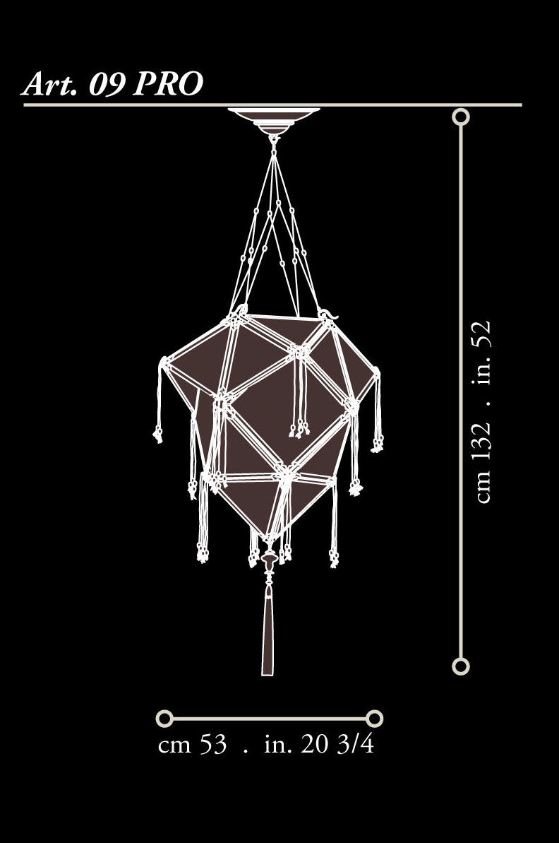 Lampada Fortuny Concubine Proibita in seta con struttura in legno dimensioni
