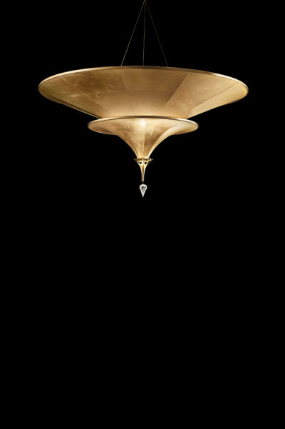 Lampada Icaro 2 dischi in fibra di vetro e foglia oro