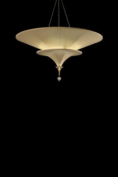 Lampada Fortuny Icaro 2 dischi in fibra di vetro avorio