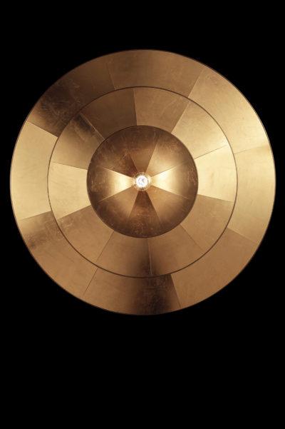 Lampada Icaro 3 dischi in fibra di vetro oro vista dal basso