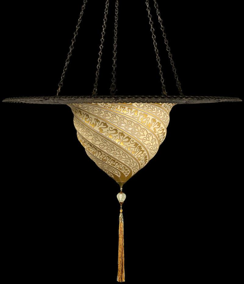 Fortuny Samarkanda gold glass lamp with metal ring