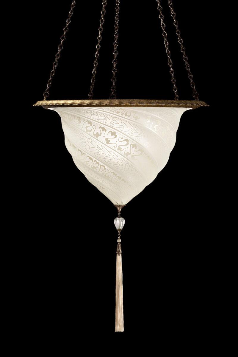 Fortuny Samarkanda wall white glass lamp