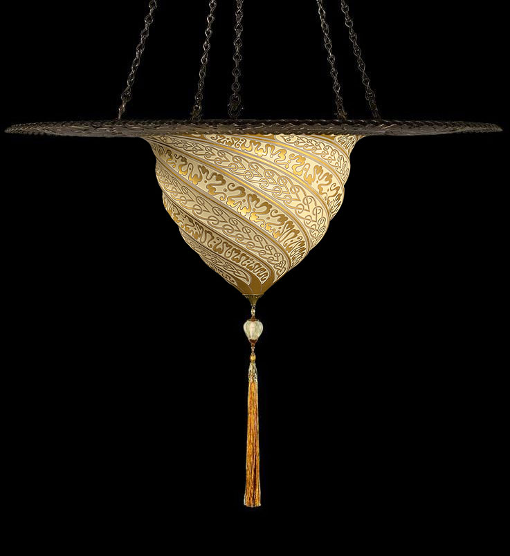 Lampada Fortuny Samarkanda in vetro oro con anello metallico