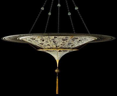Lampada in seta Fortuny Scheherazade Floral 2 dischi con anello metallico