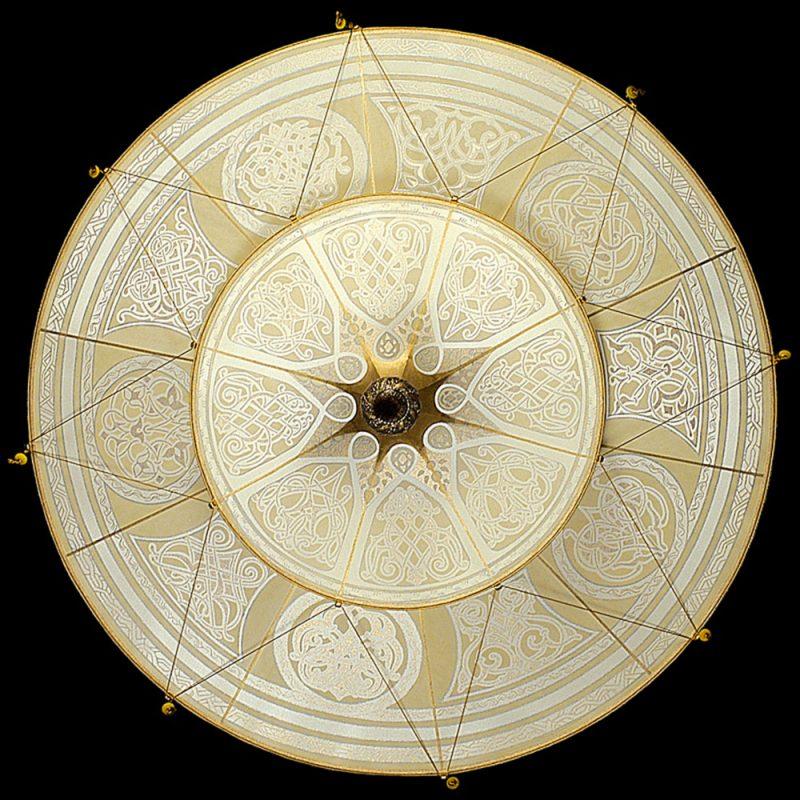 Lampada in seta Fortuny Scheherazade Geometric 2 dischi vista dal basso