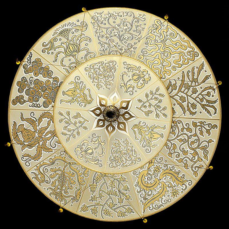 Lampada in seta Fortuny Scheherazade Herbarium 2 dischi vista dal basso