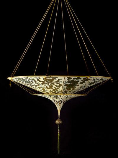 Lampada in seta Fortuny Scheherazade Herbarium 2 dischi vista laterale