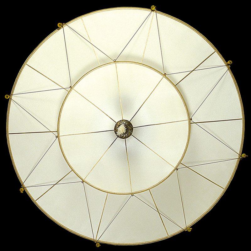 Lampada in seta Fortuny Scheherazade 2 dischi senza decorazioni vista inferiore