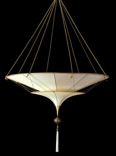 Lampada in seta Fortuny Scheherazade 2 dischi senza decorazioni vista laterale
