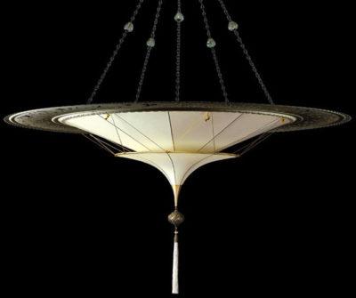 Lampada in seta Fortuny Scheherazade 2 dischi senza decorazioni con anello metallico
