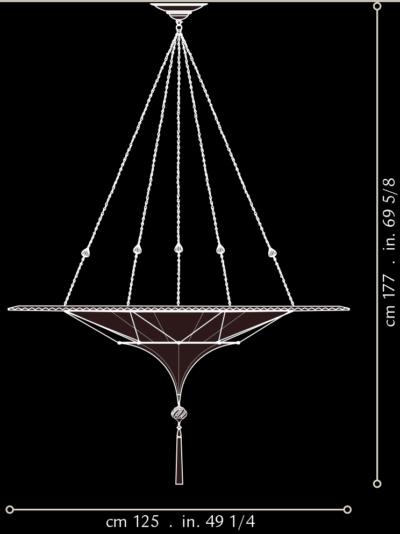 Lampada in seta Fortuny Scheherazade 2 dischi con anello metallico misure