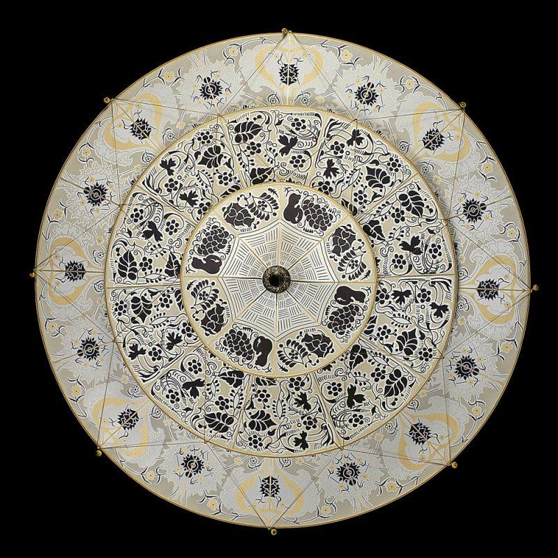 Lampada in seta Fortuny Scheherazade Floral 3 dischi vista inferiore
