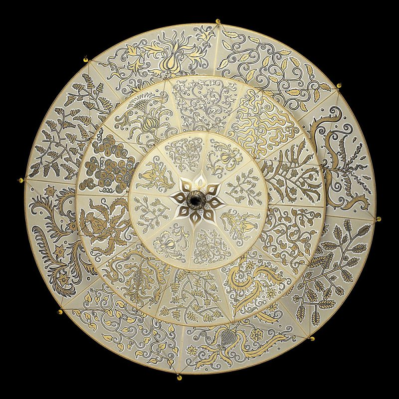 Lampada in seta Fortuny Scheherazade Herbarium 3 dischi vista inferiore