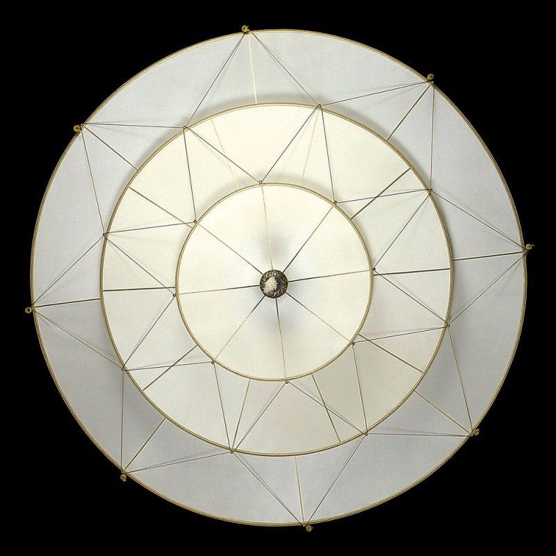 Lampada in seta Fortuny Scheherazade 3 dischi senza decorazioni lato inferiore