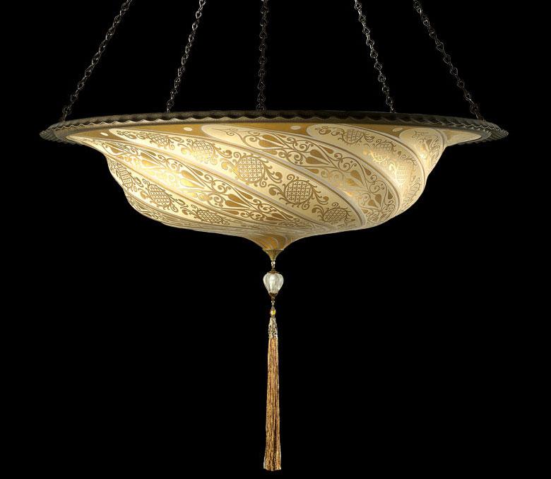 Lampada in vetro oro Fortuny Scudo Saraceno Classic