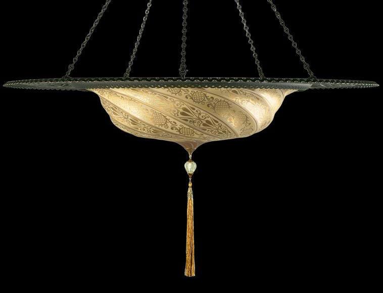 Lampada Fortuny Scudo Saraceno in vetro oro classico con anello metallico