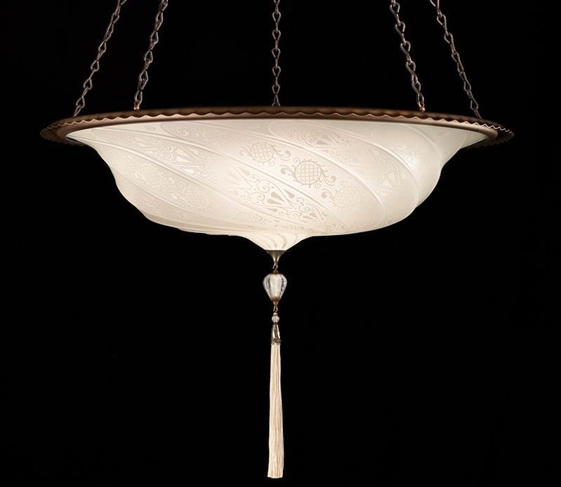 Lampada in vetro bianco Fortuny Scudo Saraceno Classic