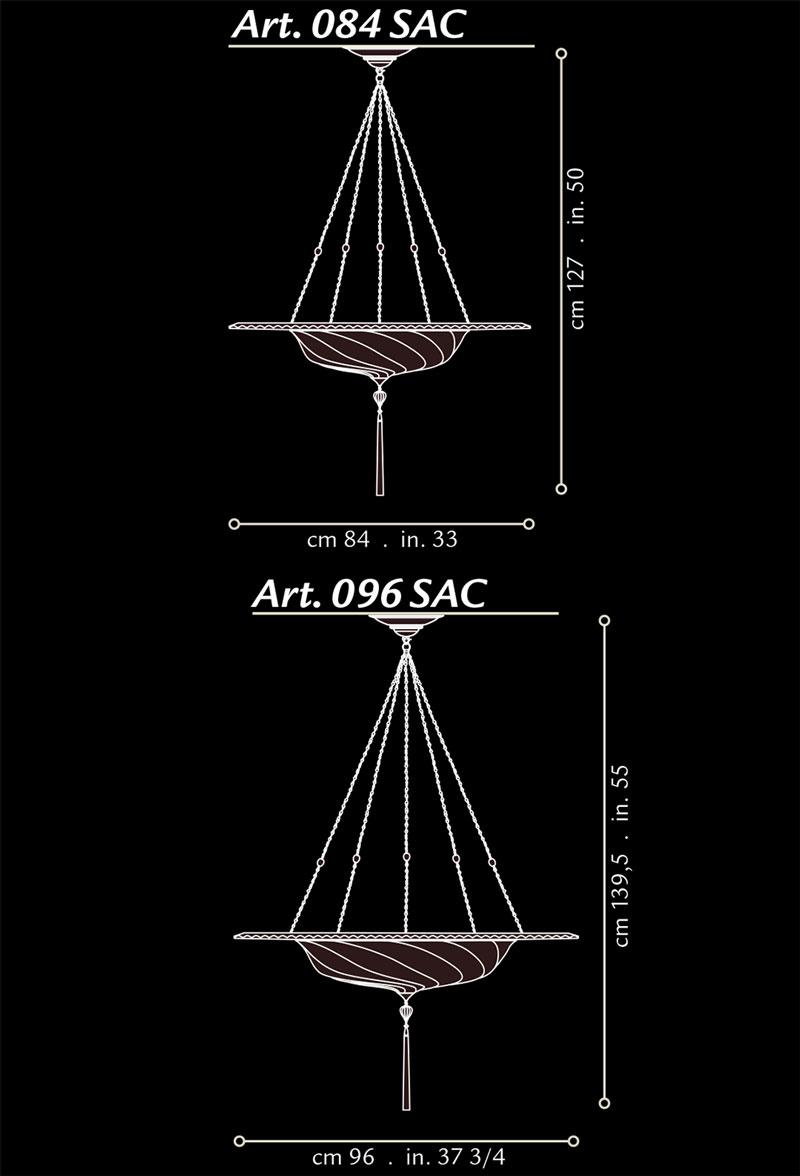 Lampada in seta Fortuny Scudo Saraceno con anello metallico misure