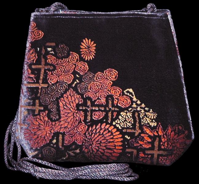 Borsa Gioia in velluto color melanzana stampato a mano